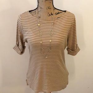 LAUREN Ralph Lauren Classic Tan/White Striped Top
